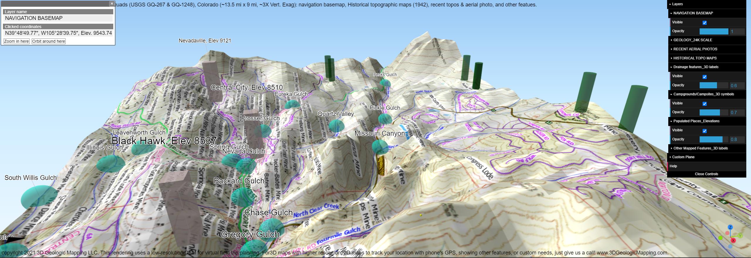 Interactive 3D map with 3D symbols
