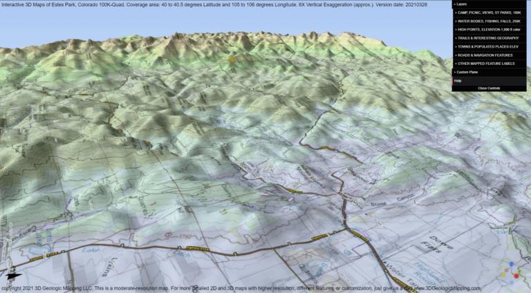 3D Map of Estes Park Quad
